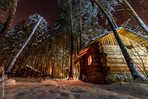 Hutrural, fir, frost, cottage, season, snowy, celebration, pine, snowfall, north, xmas, roof, chalet, outdoors, travel, landscape, wooden, home, nature, house in the woods on a winter Christmas night.