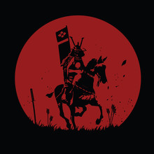 Samurai Riding A Horse Silhouette Cartoon Vector Illustration