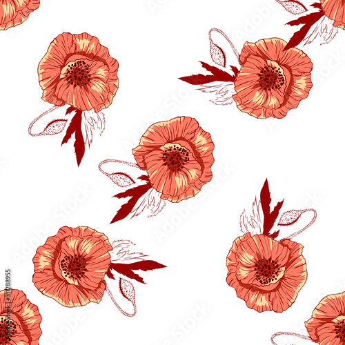 Wildflowers pattern handcrafted artsy poppy surface design Wallpaper Mural