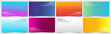 Collection Of Colorful Gradient Banners With Geometric Textures And Abstract Lines.
