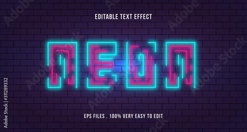 Neon line text effect, editable text Tablou Canvas