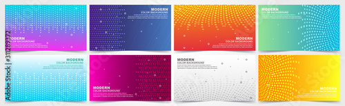 collection of colorful gradient banners with geometric textures and abstract lines Canvas-taulu