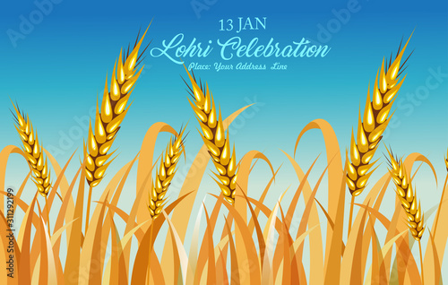 Fotografia, Obraz  Happy Lohri illustration for Punjabi harvest festival holiday background - Vecto