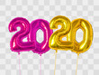 Purple and gold foil balloons number 2020