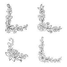 Set Of Black And White Hand Drawn Corner Floral Borders. Design For Holiday Greeting Card And Invitation Of Baby Shower, Birthday, Wedding, Happy Valentine S Day, And Mother S Day.