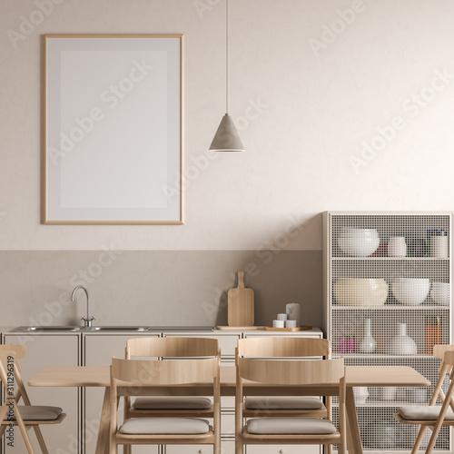 Fototapeta Mock up poster frame in Scandinavian style kitchen with dining table. 3D illustration obraz