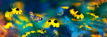 Tropical Butterflies And Yello...