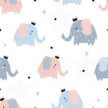 Cute Pattern With Elephants.