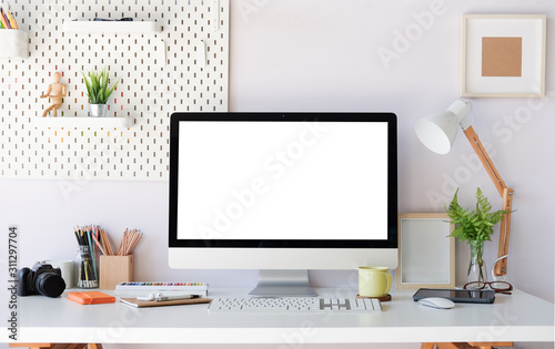 Obraz Workspace desk and laptop. copy space and blank screen. Business image, Blank screen laptop and supplies. - fototapety do salonu