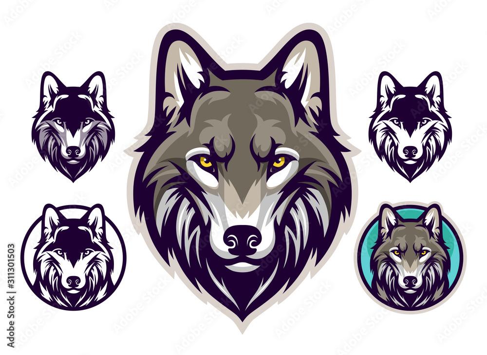 Fototapeta Wolf head emblem
