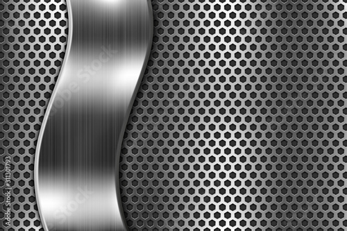 Fotografering Metal perforated background with steel wavy plate