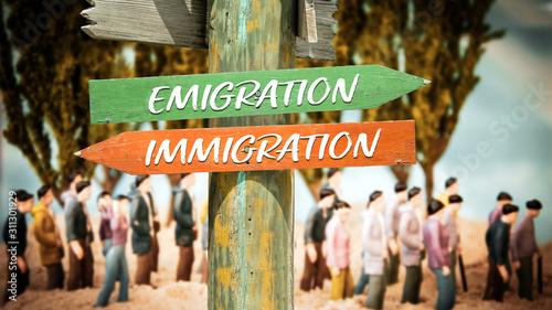 Street Sign Emigration versus Immigration Wallpaper Mural