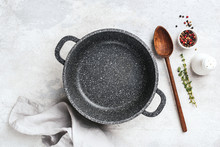 Empty Black Pan For Cooking, S...