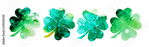 Photographie Set of watercolor four-leaf clovers