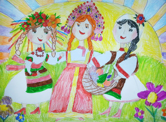 Drawing in children style Fresh organic farm vegetables