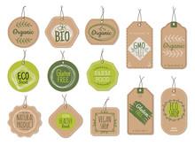 Organic Cardboard Labels. Eco Paper Badges, Green Farm Nature Product Price Shop Tags With Ecologic Emblems. Vintage Bio Vector Set. Illustration Eco Natural Vegan Cardboard, Label Market For Product