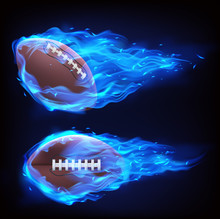 Flying Rugby Ball In Blue Fire Isolated On Black Background. Vector Realistic Symbol Of American Football In Plasma Flame. Template For Poster, Banner For The Match Of Sport Tournament