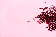 Pink Background With Red Hearts. Valentine's Day Concept.