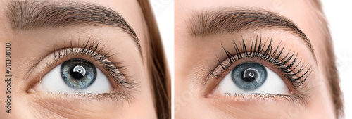 Fototapeta Beautiful young woman before and after eyelashes lamination, closeup