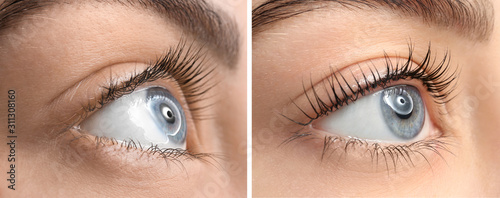 Beautiful young woman before and after eyelashes lamination, closeup Poster Mural XXL