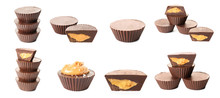 Set Of Chocolate Peanut Butter Cups On White Background