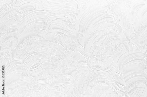 Fotografie, Obraz White shabby dry scratched paint texture with curly curved lines as modern abstract background