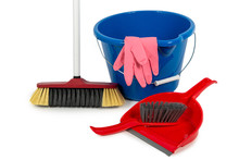 Bucket, Broom, Dustpan Isolated On White Background