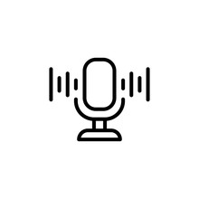 Simple Microphone Line Icon.
