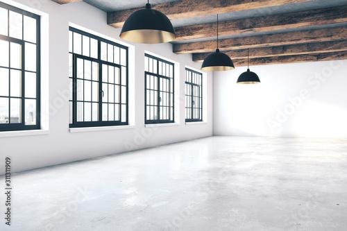 Empty loft concrete interior