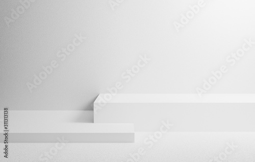 Obraz Abstract white on wall background texture with geometric shape. 3d render design for display product on website. Podium in gray scene composition concept. Platforms for presentation and mock up. - fototapety do salonu