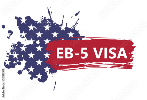 Valokuvatapetti banner in the form of an abstract American flag with text of EB-5 Visa