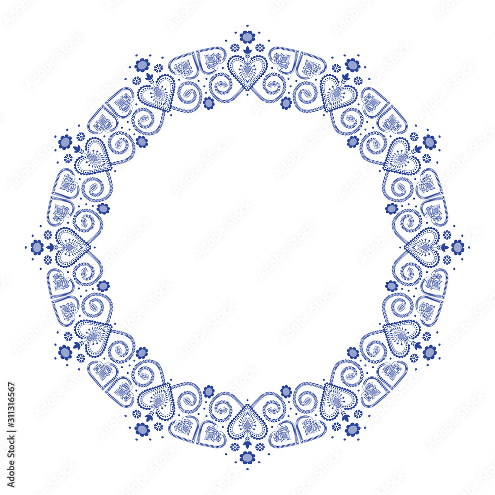 Folklore floral Nordic Scandinavian pattern vector frame. Border ethnic blue and white ornament with hearts and flowers. Round design for winter party invitation, holiday card, season sale banner.