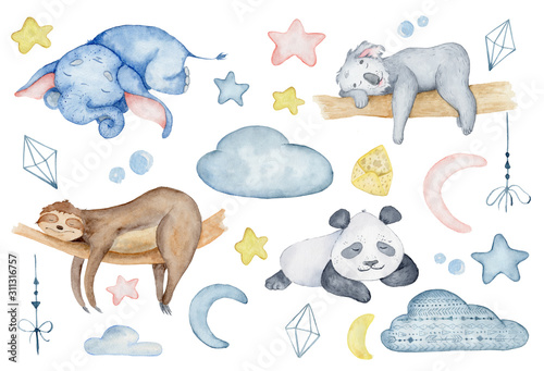 kolekcja-znakow-akwarela-zwierzat-panda-zyrafa-koala-slon