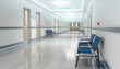 canvas print picture - Long hospital bright corridor with rooms and seats 3D rendering