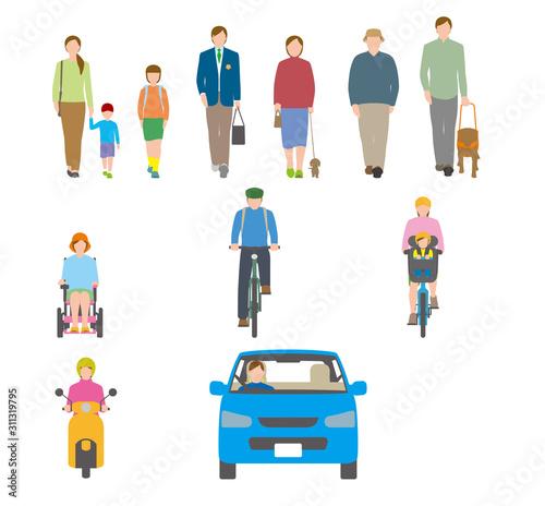Fényképezés 人、自転車、自動車を正面から見たイラスト