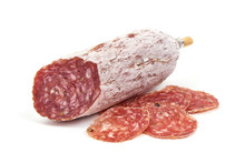 Cured Salami Sausage, Italian Cuisine, Isolated On White Background