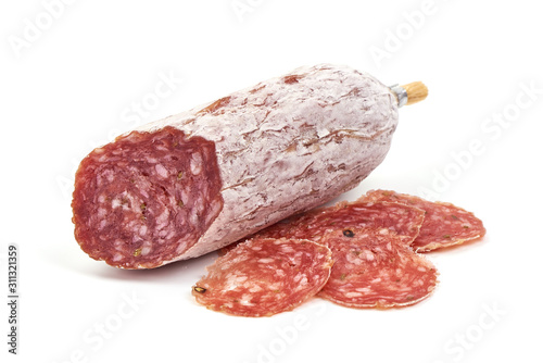 Fototapeta Cured salami sausage, Italian cuisine, isolated on white background obraz