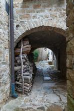 A Small Narrow Street In An Ol...