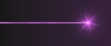 Purple laser beam light effect isolated on transparent background. Violet neon light ray with sparkles.