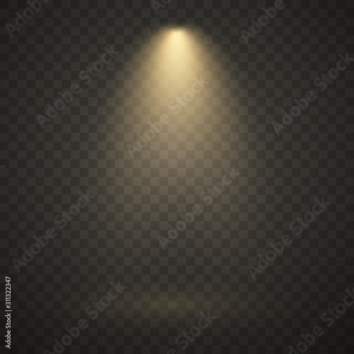 Fototapeta Yellow spotlight, bright light, golden stage lighting isolated on transparent background. Transparent vector effect. obraz na płótnie