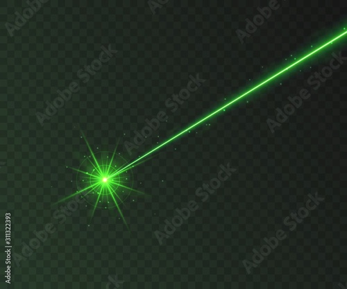 Green laser beam light effect isolated on transparent background. Neon light ray with sparkles. Wall mural