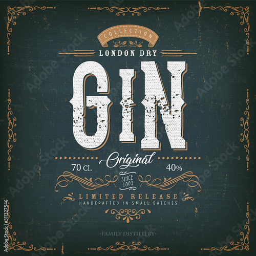 Vintage London Gin Label For Bottle/ Illustration of a vintage design elegant london dry gin label, with crafted lettering, specific product mentions, textures and hand drawn patterns