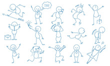 Business Stickman. Hand Drawn Characters People Figures Expressions Jumping Running Holding Pointing Vector Business Set. Illustration Simple Smile Expression, Stickman Working And Tiredness