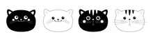 Black White Cat Head Face Line...