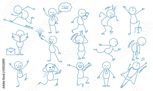 Fototapeta Business stickman. Hand drawn characters people figures expressions jumping running holding pointing vector business set. Illustration simple smile expression, stickman working and tiredness obraz