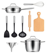 Kitchen Utensils. Pans Steel Pot Griddles Knives Items For Cooking Food Vector Realistic Images Set. Illustration Kitchen Steel Utensil, Kitchenware Cooking