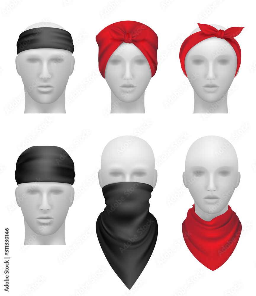 Fototapeta Bandanas set. Stylish clothes for bikers and gangsters mannequin head vector realistic. Illustration stylish apparel for biker or cowboy