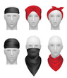 Bandanas set. Stylish clothes for bikers and gangsters mannequin head vector realistic. Illustration stylish apparel for biker or cowboy