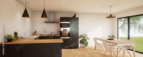 vue 3d cuisine noire  27-1 Wallpaper Mural