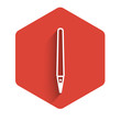 White line Pen icon isolated with long shadow. Red hexagon button. Vector Illustration